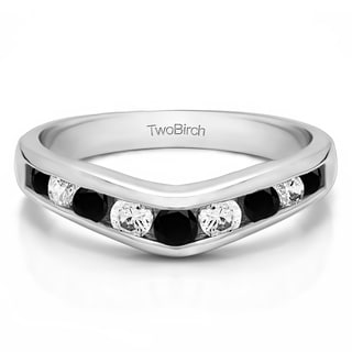 10k Gold Chevron Inspired Classic Contour Wedding Band Mounted With Black And White Cubic Zirconia 0 33 Cts Twt