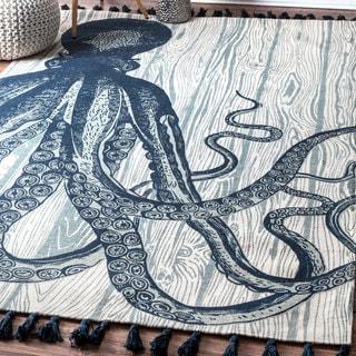 nuLOOM Handmade by Thomas Paul Cotton Printed Octopus Tassel Ivory Rug (5' x 8')