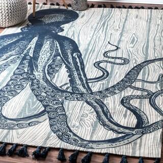 nuLOOM Handmade by Thomas Paul Cotton Printed Octopus Tassel Ivory Rug (3' x 5')