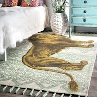 nuLOOM Handmade by Thomas Paul Cotton Printed Lion Green Tassel Rug (5' x 8') - 5' x 8'