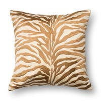 Zebra Modern Safari Bronze Embroidered Down Feather or Polyester Filled 18-inch Throw Pillow or Pillow Cover