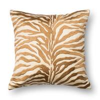 Zebra Modern Safari Bronze Embroidered Throw Pillow or Pillow Cover 18 x 18