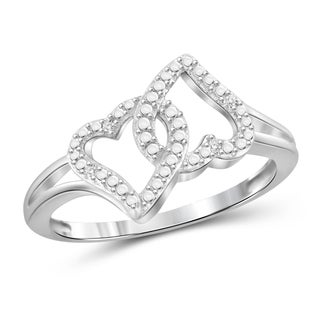 Jewelonfire Genuine Accent White Diamond Double Heart Open Ring in Sterling Silver