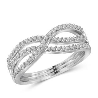 Jewelonfire Genuine Accent White Diamond Crossover Open Ring in Sterling Silver