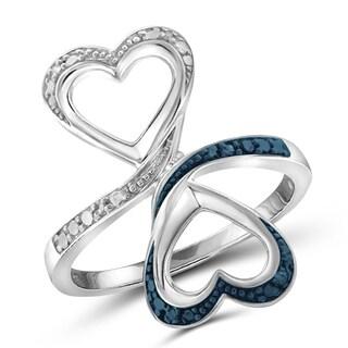 Jewelonfire Genuine Accent Blue & White Diamond Open Ring in Sterling Silver
