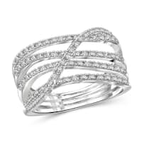 Jewelonfire Genuine 1/20 CTW White Diamond Crossover Open Ring in Sterling Silver