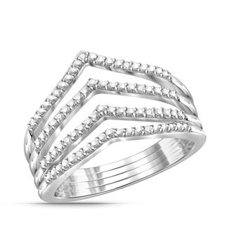 Jewelonfire Genuine 1/20 CTW White Diamond Open Ring in Sterling Silver