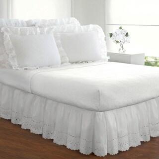 Fresh Ideas Lauren Heirloom Ruffled Eyelet 14-inch Bedskirt Queen Size in Ivory(As Is Item)