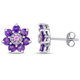 Laura Ashley African-Amethyst Pink Sapphire and 1/10ct TDW Diamond Flower Stud Earrings in Sterling Silver