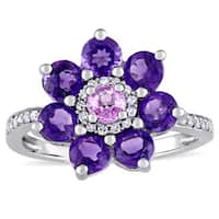 Laura Ashley African-Amethyst Pink Sapphire and 1/7ct TDW Diamond Flower Ring in Sterling Silver