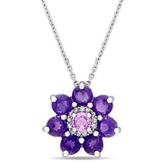 Laura Ashley African-Amethyst Pink Sapphire and Diamond Accent Flower Dangle Necklace in Sterling Silver