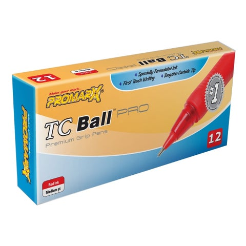TC Ball 1.0mm Medium Grip Stick Red Ink Pens-12 count (Case of 48)