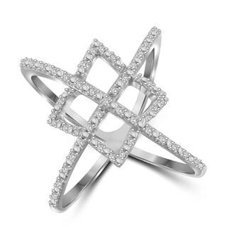 Jewelonfire Genuine 1/7 CTW White Diamond Open Ring in Sterling Silver