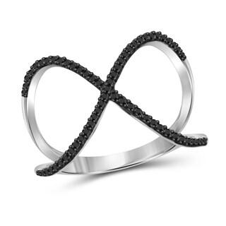 Jewelonfire Genuine 1/7 CTW Black Diamond Open Ring in Sterling Silver