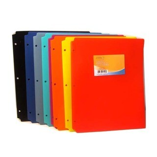 "Promarx Poly Portfolios, 11.42"" X 9.45"" , 3 Hole Punched, Assorted Colors, Colors May Vary, 48PK"