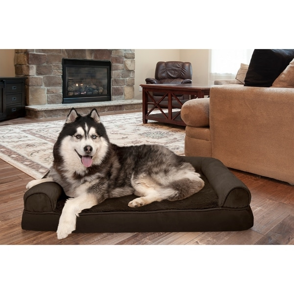 Shop Furhaven Plush Amp Suede Memory Top Dog Couch Pet Bed