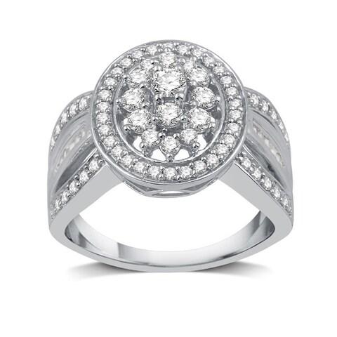 1 CTTW Diamond Round-Shaped Composite Ring In Sterling Silve (I-J, I2-I3) - White I-J