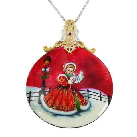 """Michael Valitutti Palladium Silver Hand-Painted Mother-of-Pearl Shell & Ruby """"Caroling"""" Pendant"""