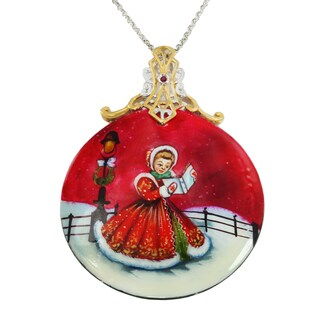 "Michael Valitutti Palladium Silver Hand-Painted Mother-of-Pearl Shell & Ruby ""Caroling"" Pendant"