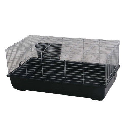 Rabbit/Guinea Pig Plastic/Metal Wire Cage (Black)