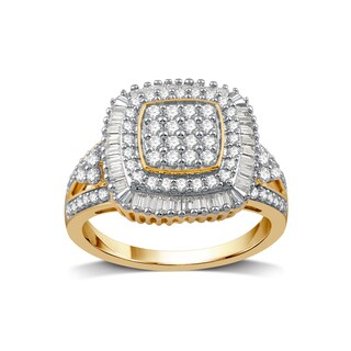 1 CTTW Diamond Fashion Ring In Sterling Silver with 14K Gold Plating. (I-J, I2-I3) - White I-J (5 options available)