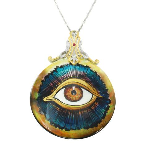 """Michael Valitutti Palladium Silver Hand-Painted Mother-of-Pearl Shell & Ruby """"Eye of Horus"""" Pendant"""