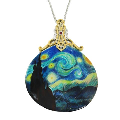 """Michael Valitutti Palladium Silver Hand-Painted Mother-of-Pearl Shell & Ruby """"Starry Night"""" Pendant"""