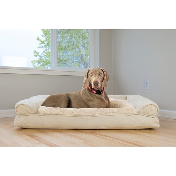 FurHaven Pet Bed | Plush & Suede Pillow Sofa Dog Bed