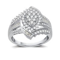 3/4 CTTW Diamond Marquise Cluster Engagement Ring in Sterling Silver (I-J, I2-I3) - White I-J