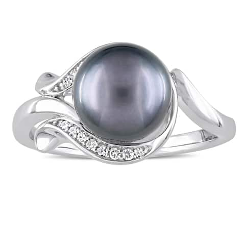 Miadora Signature Collection 14k White Gold Black Tahitian Pearl and Diamond Accent Swirl Ring (8.5