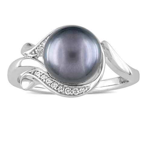 Miadora Signature Collection 14k White Gold Black Tahitian Pearl and Diamond Accent Swirl Ring (8.5