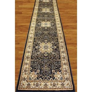 Navy Blue and Beige Super Soft Traditional Medallion Runner Rug (2'7 x 12')