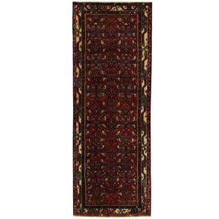 Herat Oriental Persian Hand-knotted Hamadan Wool Runner (3'3 x 8'9)