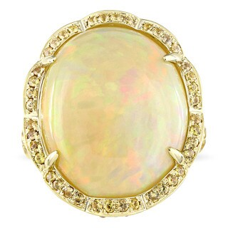 Miadora Signature Collection 14k Yellow Gold Ethiopian Opal and Yellow Sapphire Halo Cocktail Ring