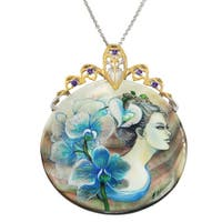Michael Valitutti Palladium Silver Hand-Painted Mother-of-Pearl Shell & Amethyst Blue Lady in Orchids & Lady Pendant
