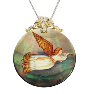 """Michael Valitutti Palladium Silver Hand-Painted Mother-of-Pearl Shell """"Trumpeting Angel"""" Pendant"""