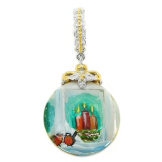 "Michael Valitutti Palladium Silver Hand-Painted Mother-of-Pearl Shell ""Candle Light"" Charm"