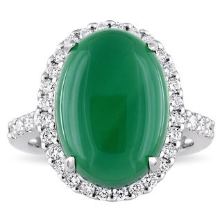 Miadora Signature Collection 14k White Gold 3/8ct TDW Diamond and Green Chalcedony Halo Cocktail Ring