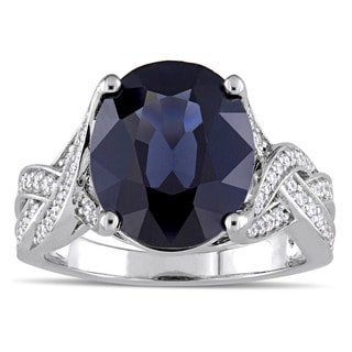 Miadora Signature Collection 14k White Gold Black Spinel and 1/3ct TW Diamond Infinity Solitaire Eng