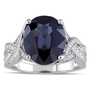 Miadora Signature Collection 14k White Gold Black Spinel and 1/3ct TW Diamond Infinity Solitaire Engagement Ring