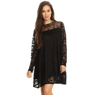High Secret Women's Black Floral Lined Lace Long-Sleeve Mini Dress