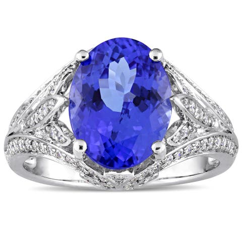 Miadora Signature Collection 14k White Gold 1/2ct TDW Diamond and Tanzanite Split Shank Ring - Blue