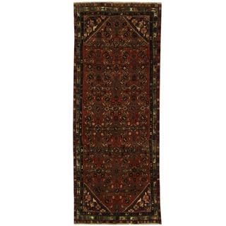 Herat Oriental Persian Hand-knotted Hamadan Wool Runner (3'7 x 9')