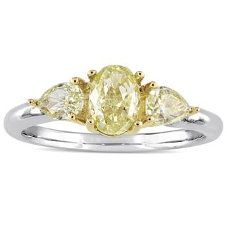 Miadora Signature Collection 14k White and Yellow Gold Oval and Pear-cut 1 3/5ct TDW Yellow Diamond 3-stone Engagement Ring