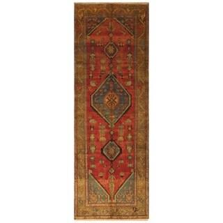 Handmade Herat Oriental Persian Hamadan Wool Runner - 3'6 x 10'3 (Iran)