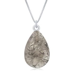 """La Preciosa Sterling Silver Faceted Pear Shape Black Rutilated Quartz 17+1"""" Necklace"""