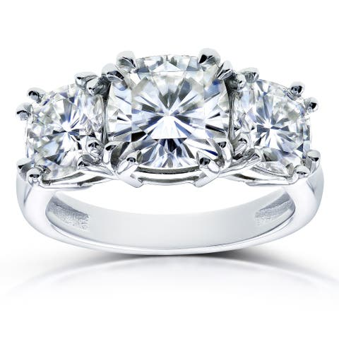 Annello by Kobelli 14k White Gold 4 1/5ct TGW Moissanite (FG) Cushion Cut 3 Stone Engagement Ring