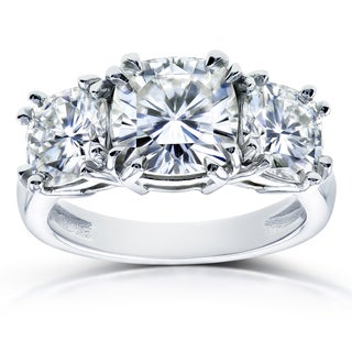 Annello by Kobelli 14k White Gold 4 1/5ct TGW Forever One Moissanite Cushion Cut 3 Stone Engagement Ring