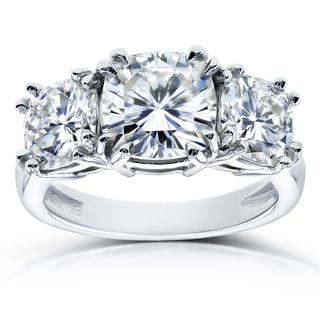 Annello by Kobelli 14k White Gold 4 1/5ct TGW Moissanite (FG) Cushion Cut 3 Stone Engagement Ring