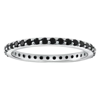 10k White Gold 1/2ct TDW Black Diamonds Eternity Band Ring